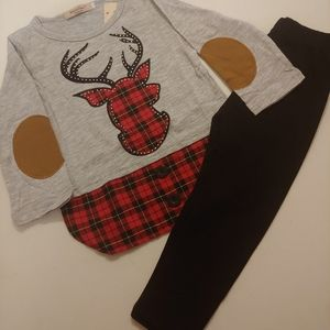 Boutique Deer Plaid outfit 18-24 mos